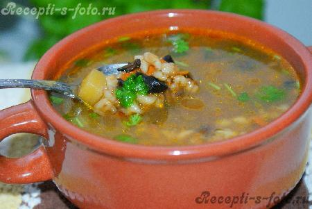 Грибного супа из перловки и сушеных грибов